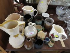 SELECTION OF CHINA AND STONEWARE JUGS , POTTERY TANKARD AND OTHER ITEMS.