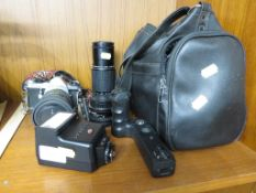 PENTAX ME SUPER SLR FILM CAMERA WITH THREE LENSES, ACCESSORIES AND CARRY BAG.