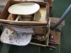 TWO SETS OF WEIGHING SCALES WITH WEIGHTS , TOGETHER WITH VICE.