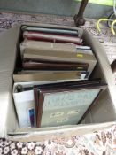 BOX WITH CONTENTS OF FIRST DAY COVER STAMPS , VARIOUS STAMP ALBUMS WITH CONTENTS , COLLECTORS