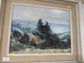 FRAMED OIL ON BOARD OF TREES IN LANDSCAPE SIGNED E. HASTIE LOWER RIGHT.