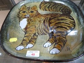 STUDIO POTTERY SQUARE DISH DEPICTING A TABBY CAT, SIGNED AND IMPRESSED B.R