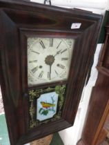 A JEROME AND CO AMERICAN WALL CLOCK WITH DECORATIVE PANELS DEPICTING BIRD ON BRANCH IN A MAHOGANY