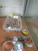 SILVER AND SILVER-PLATED ITEMS INCLUDING NAPKIN RING, CRUET, SPOONS AND OTHER ITEMS.