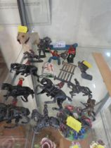 VINTAGE TOY FIGURE OF A DOG, TOGETHER WITH A SELECTION OF PLAY WORN LEAD SOLDIERS AND OTHER ITEMS (