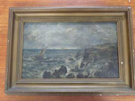 COASTAL SCENE WITH ROUGH SEA, PROBABLY 19TH CENTURY, OIL ON BOARD, 21.5CM X 36CM, INCOMPLETE