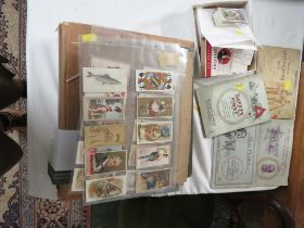 A COLLECTION OF CIGARETTE CARDS, MAINLY WILLS, CONTAINED IN TWO GREETINGS CARDS ALBUMS, A GREY