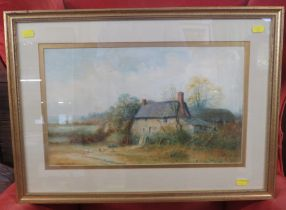 COTTAGES WITH CHICKEN, WATERCOLOUR, 25CM X 42CM, WRITTEN TO THE BACK OF THE FRAME: 'COTTAGES WITH