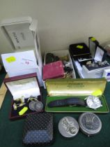 EXCALIBUR WRISTWATCH, ASSORTED CUFFLINKS, TRINKET POTS AND OTHER WATCHES AND SMALL ITEMS.