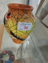 DENNIS CHINA WORK POTTERY VASE DEPICTING GOLD FINCHES, HEIGHT 13CM, SIGNED TO BASE.