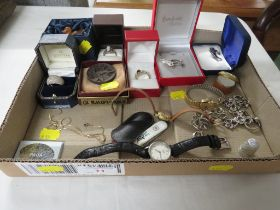GOLD MICROCHAIN, WHITE METAL DRESS RINGS, NECKLACE, THREE LADIES WRIST WATCHES AND OTHER SMALL