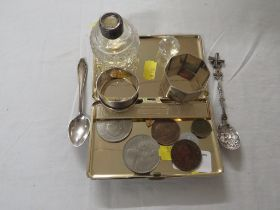 HALLMARKED SILVER NAPKIN RING 0.3 OZT, ONE OTHER STAMPED SILVER, TWO FOREIGN SILVER SPOONS. PLATED