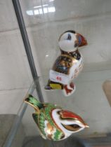 ROYAL CROWN DERBY CHINA PAPERWEIGHT OF A PUFFIN WITH SILVER COLOURED STOPPER, TOGETHER WITH ONE