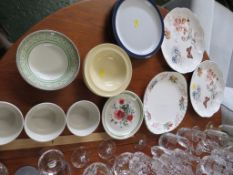 THREE DENBY TEA PLATES AND A SMALL SELECTION OF OTHER ASSORTED DINING CHINA.