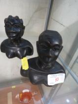 PAIR OF CARVED WOODEN AFRICAN STYLE BUSTS