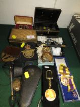 CLUB MEDALS, COSTUME JEWELLERY, PRE-DECIMAL COINAGE, POWDER COMPACTS AND OTHER ITEMS.