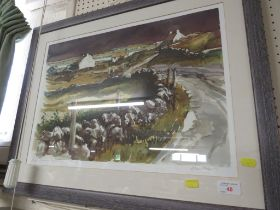 LIMITED EDITION PRINT AFTER ALAN COTTON , TITLED COUNTY KERRY WHITE WASHED COTTAGES , 25 OF 75