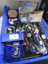 SELECTION OF LADIES AND GENTS WRISTWATCHES, CASED AND LOOSE CUFFLINKS, TIN OF ASSORTED WORLD COINS