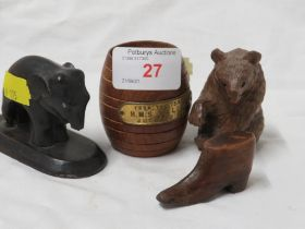 WOODEN MATCH HOLDER MADE FROM THE TEAK OF HMS VALIANT , BLACK FOREST STYLE BEAR AND TWO OTHER