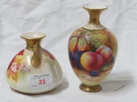 TWO ROYAL WORCESTER BLUSH IVORY VASES DECORATED WITH FLOWERS. (AF)
