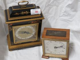 ELLIOT MANTEL CLOCK WITH AN ORIENTAL STYLE LACQUERED FINISH CASE. TOGETHER WITH A PRESTONS LIMITED