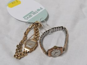 LADIES WRISTWATCH WITH 9 CARAT GOLD CASE AND PLATED BRACELET TOGETHER WITH A LADIES BERNEX