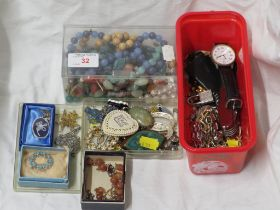 SELECTION OF COSTUME JEWELLERY , TOGETHER WITH A WRIST WATCH AND SWISS ARMY STYLE KNIFE.