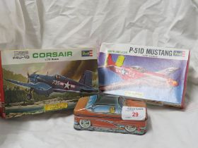 TWO BOXED REVELL MODEL AIRCRAFT KITS, AND AN IAN LOGAN'S COLLECTABLES TIN SHAPED AS A CAR