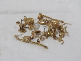 LARGE SELECTION OF MAINLY 9CT GOLD EARRINGS AND STUDS, SOME SET WITH SEED PEARLS AND STONES (GROSS