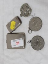 TWO HAMPSHIRE FRIENDLY SOCIETY MEDALS , CAP BADGE , CHROME PLATED MATCH VESTA AND SMALL CIGARETTE