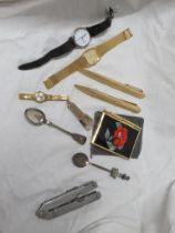 MEDANA LADIES WRISTWATCH, TWO OTHER WATCHES, PENS, ROEBUCK POCKET TOOL AND OTHER SMALL ITEMS