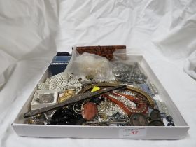 TRAY OF COSTUME BEADS ,SILVER COMB HANDLE (A/F), STERLING SILVER I.D BRACELET, JEWELLERY CASES (NO