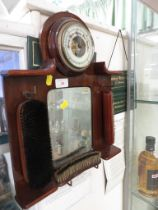 VINTAGE OAK MOUNTED HALLWAY BAROMETER WITH MIRROR AND HANGING CLOTHES BRUSHES.