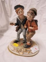 CONTINENTAL PORCELAIN FIGURAL GROUP OF TWO BOYS.