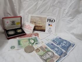 ROYAL MINT SILVER PROOF 5 PENCE COIN SET IN CASE , A TRAFALGAR FIVE POUND COIN , BANK NOTES AND