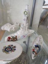 FIVE ITEMS OF PORCELAIN CRESTED CHINA WITH MILITARY THEME INCLUDING BATTLESHIP AND TANK.