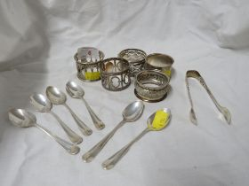 FIVE HALLMARKED SILVER NAPKIN RINGS , SIX HALLMARKED SILVER COFFEE SPOONS (TOTAL WEIGHT 5.5 OZT)