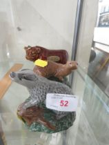 WHITE & MACKAY WHISKY BESWICK BADGER AND OTTER FIGURES (WITH PART CONTENTS) TOGETHER WITH A