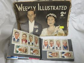 SMALL ALBUM OF PASTED CIGARETTE CARDS . (AF) TOGETHER WITH A COPY OF WEEKLY ILLUSTRATED DATED 1936.