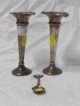 PAIR OF FILLED SILVER VASES , TOGETHER WITH A SILVER SOUVENIR SPOON.