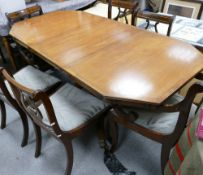 Reproduction Modern Mahogany Extending Dinner Table: with extra leaf & six chairs