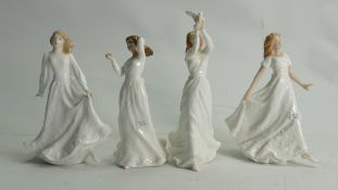 Royal Doulton Small Lady Figures: With Love HN3393, Good Luck HN4070,