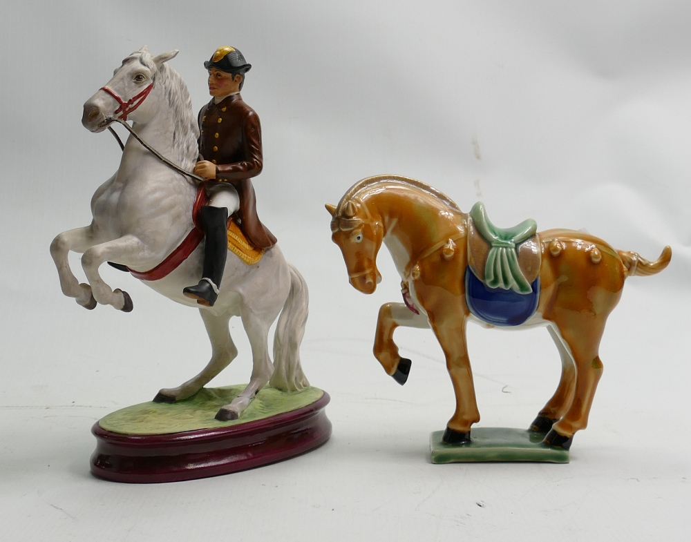 Pottery Figure of Rearing Lipizzaner horse & Rider: together with similar Chinese item(2)