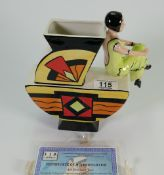 Lorna Bailey limited edition Art Deco Lady vase : with certificate, height 23cm.