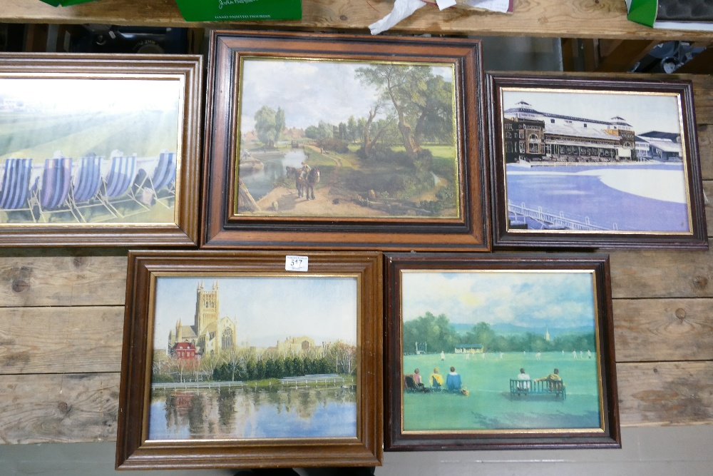 A collection of 5 Landscape theme prints: sporting items noted