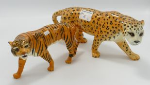 Damaged Beswick Leopard & Tiger(2)