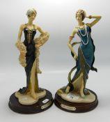 Pair Resin Art Deco Lady Figures: height 30cm(2)