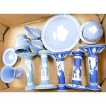 A mixed collection of Wedgwood jasper ware and similar items to include: vases, candlesticks,