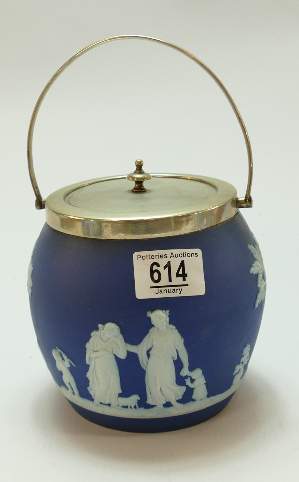 Wedgwood dipped blue biscuit barrel with silver plated fittings: height 13.
