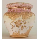 Doulton Burslem jar & cover: Decorated in Spanish style embossed flowers, height 16cm.